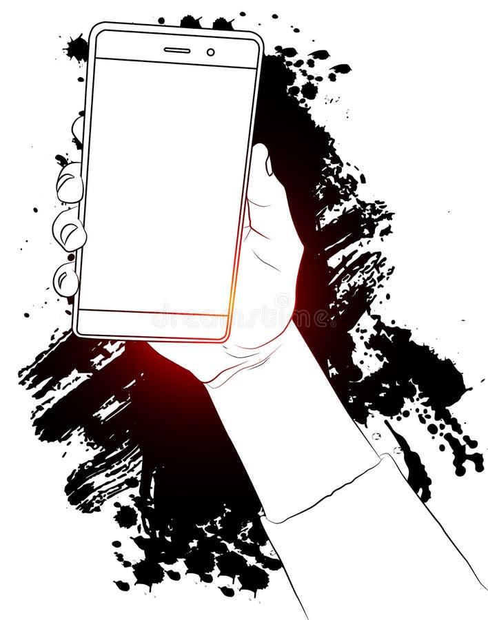 Hållande vit mobiltelefon för hand med den vita skärmen royaltyfri illustrationer