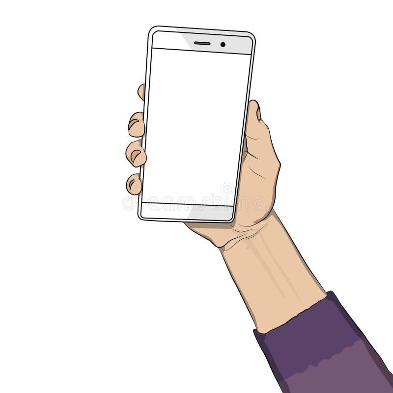 Hållande vit mobiltelefon för hand med den vita skärmen vektor illustrationer