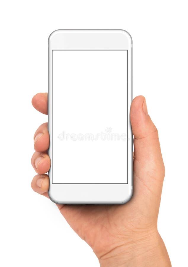 Hållande vit smartphone för hand arkivbild