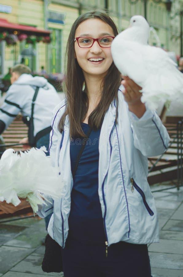 Hållande vita duvor för gullig flicka i hennes armar fotografering för bildbyråer