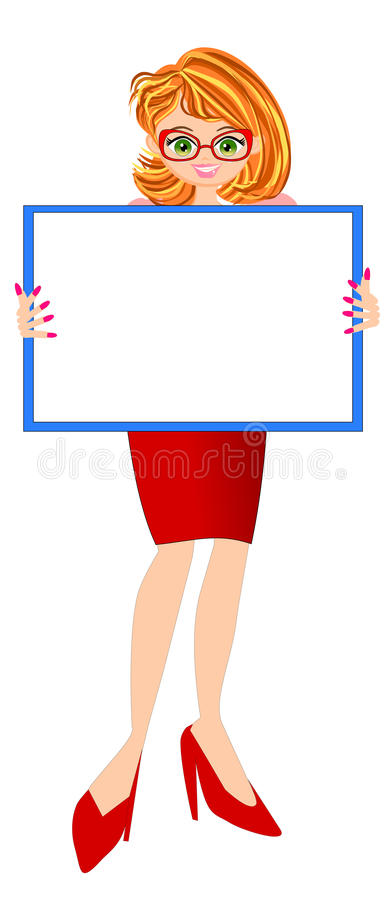 Hållande whiteboard för nätt kvinna vektor illustrationer