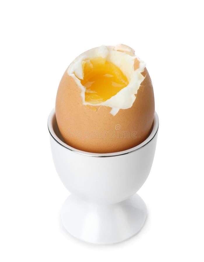 Hållare med det mjuka kokta ägget royaltyfri fotografi