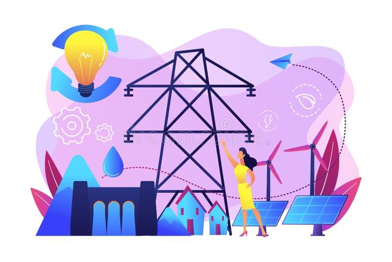 Hållbar illustration för energibegreppsvektor stock illustrationer