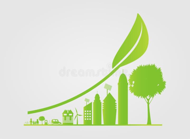 Hållbar stads- tillväxt i staden, ekologi Gröna städer hjälper världen med eco-vänskapsmatch begreppsidéer, vektorillustration royaltyfri illustrationer