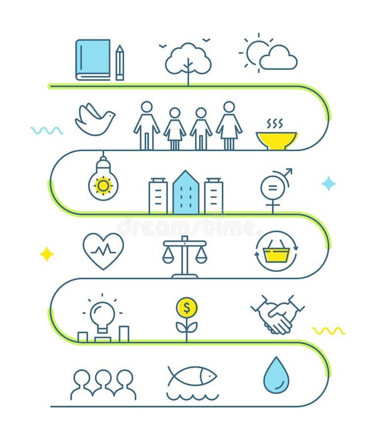 Hållbar utveckling och hållbar bosatt genomförandekretsschemalinje Art Vector Illustration royaltyfri illustrationer