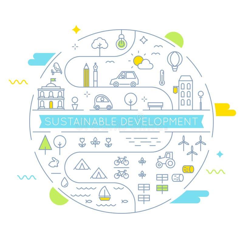 Hållbar utveckling och hållbar bosatt linje Art Vector Illustration för genomförandebegrepp stock illustrationer