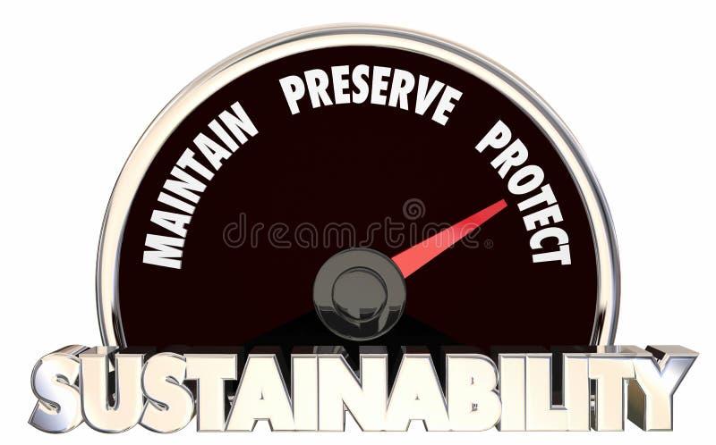 Hållbarheten underhåller sylten skyddar måttresultat 3d Illu stock illustrationer