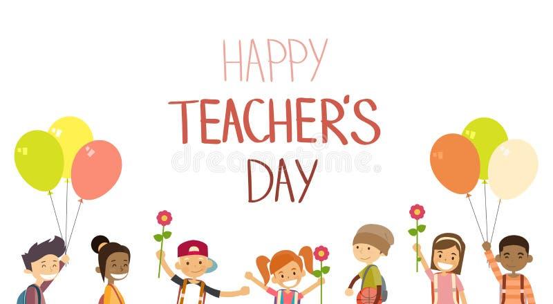 Hållen för den lärareDay School Children gruppen blommar kortet för ballongferiehälsningen stock illustrationer