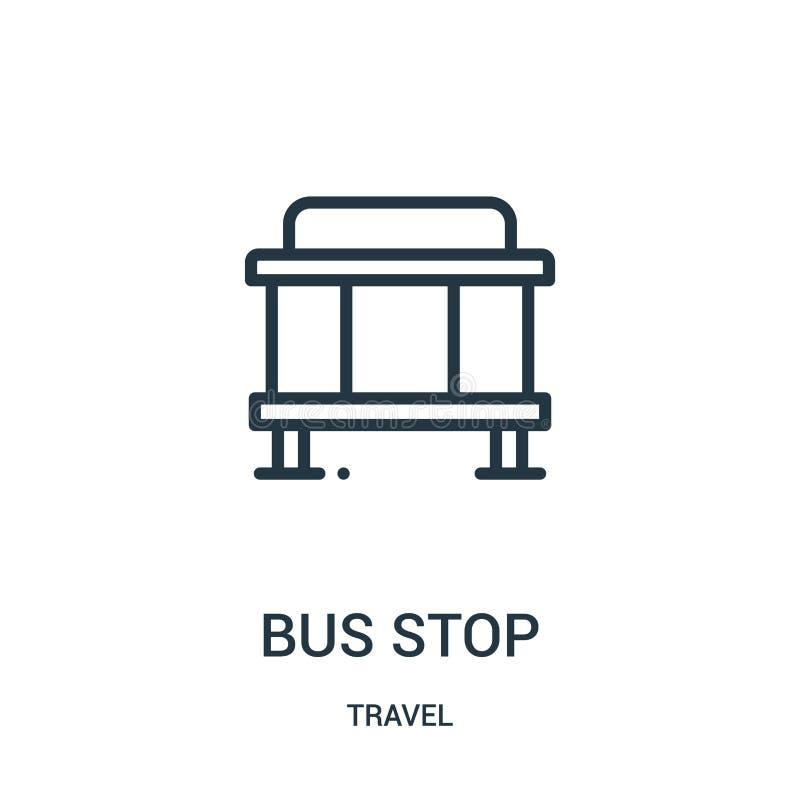 hållplatssymbolsvektor från loppsamling Tunn linje illustration för vektor för hållplatsöversiktssymbol Linjärt symbol för bruk p stock illustrationer