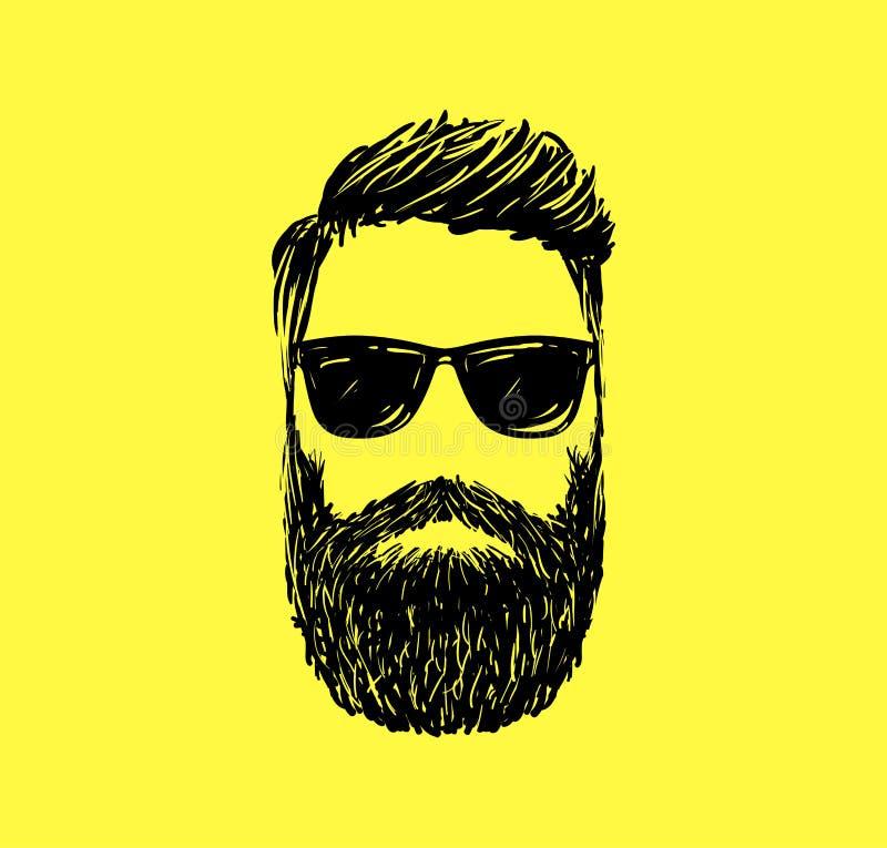 Hår för Hipstermodeman och skägg, hand dragen vektorillustration vektor illustrationer