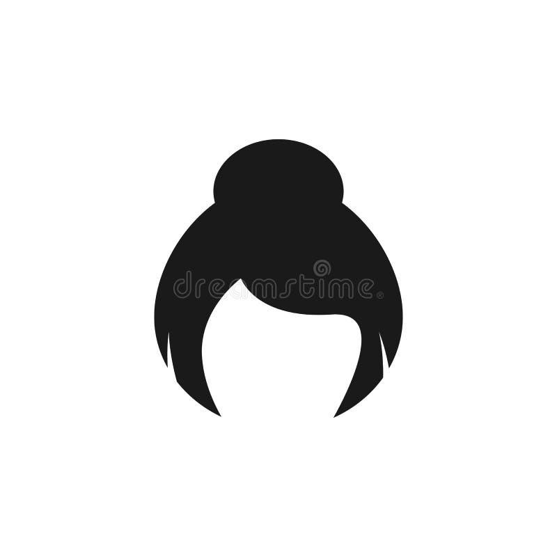 hår kvinna, frisyr, bullesymbol vektor illustrationer