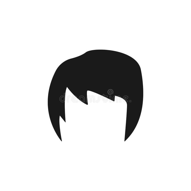 hår kvinna, frisyr, kort symbol stock illustrationer