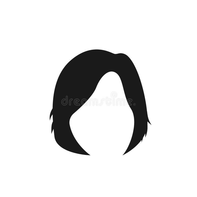 hår kvinna, frisyr, medelsymbol royaltyfri illustrationer