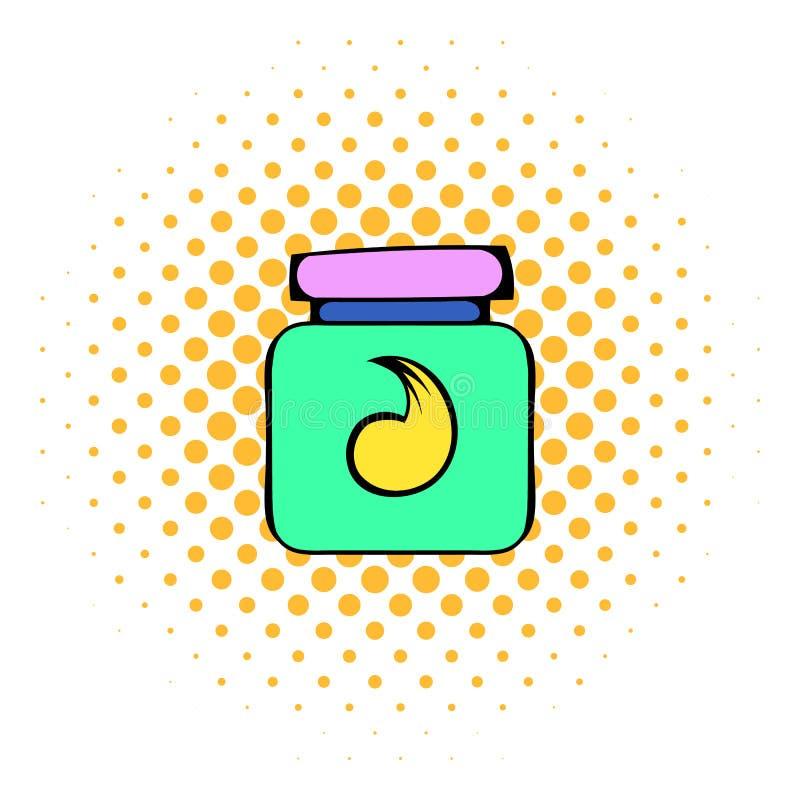 Hår stelnar i en symbol för plast- behållare, komiker utformar vektor illustrationer