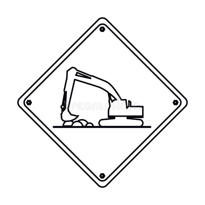 Hård översikt för grävskopalastbilbyggnation vektor illustrationer