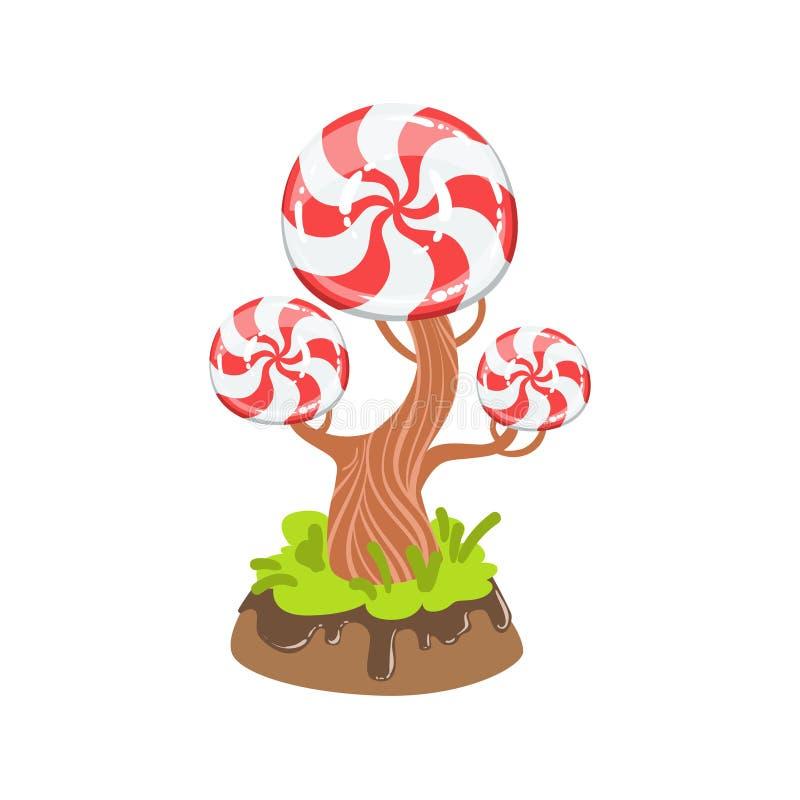 Hård godis med beståndsdelen för landskap för klassiskt för virvelmodellträd för fantasi land för godis den söta royaltyfri illustrationer