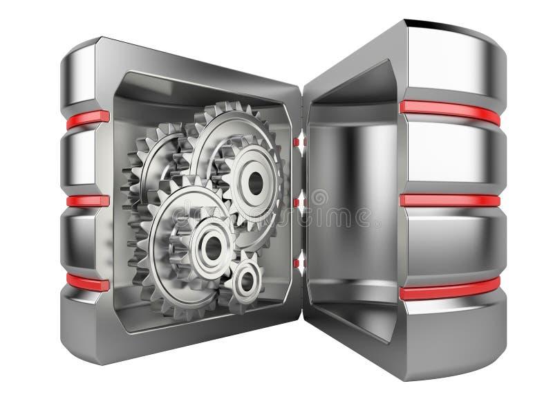 Hårddisk med kugghjul inom stock illustrationer