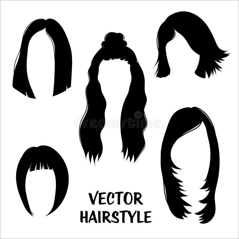Hårkonturer Vektorn ställde in av kvinnors frisyrer vektor illustrationer