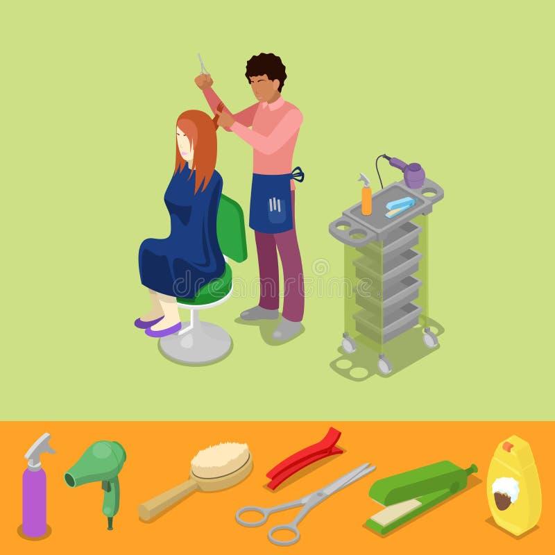 Hårsalong Barber Makes Woman Hairstyle Isometric royaltyfri illustrationer