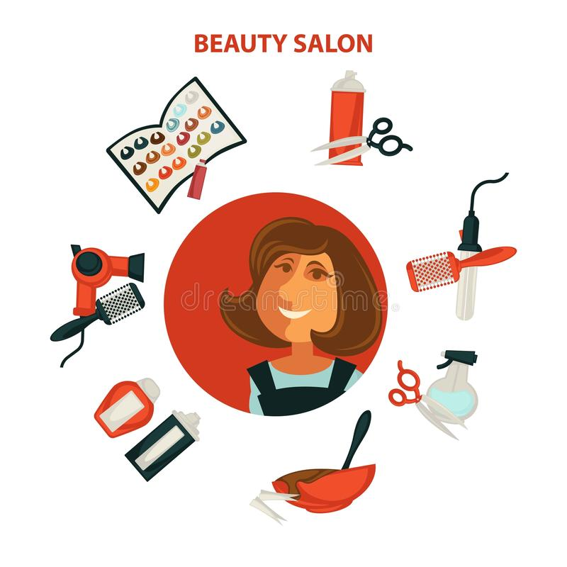 Hårskönhet eller affisch för kvinnafrisörsalong för yrkesmässigt färga för hår, stock illustrationer