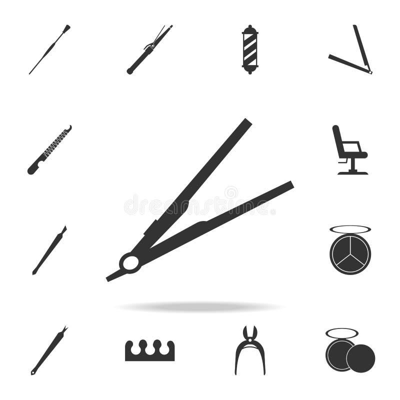 hårstraightenersymbol Detaljerad uppsättning av symboler för skönhetsalong Högvärdig kvalitets- symbol för grafisk design En av s vektor illustrationer
