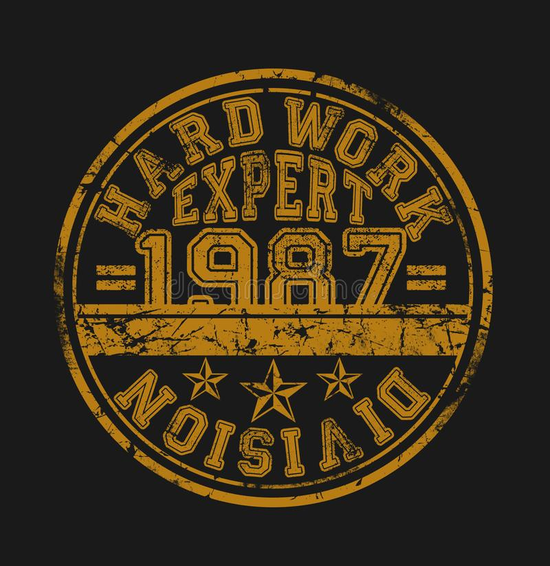 'hårt arbete, expert, uppdelnings'typografi, sportsliga utslagsplatsskjortadiagram vektor illustrationer