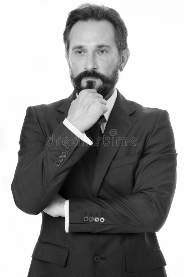 hårt beslut Haka för klassiska formella kläder för affärsman rörande, medan göra beslut Affärsuppförande måste vara royaltyfri bild