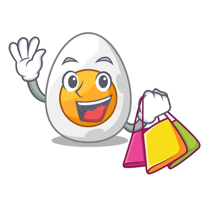 Hårt kokt ägg för shoppingtecken som är klart att äta royaltyfri illustrationer