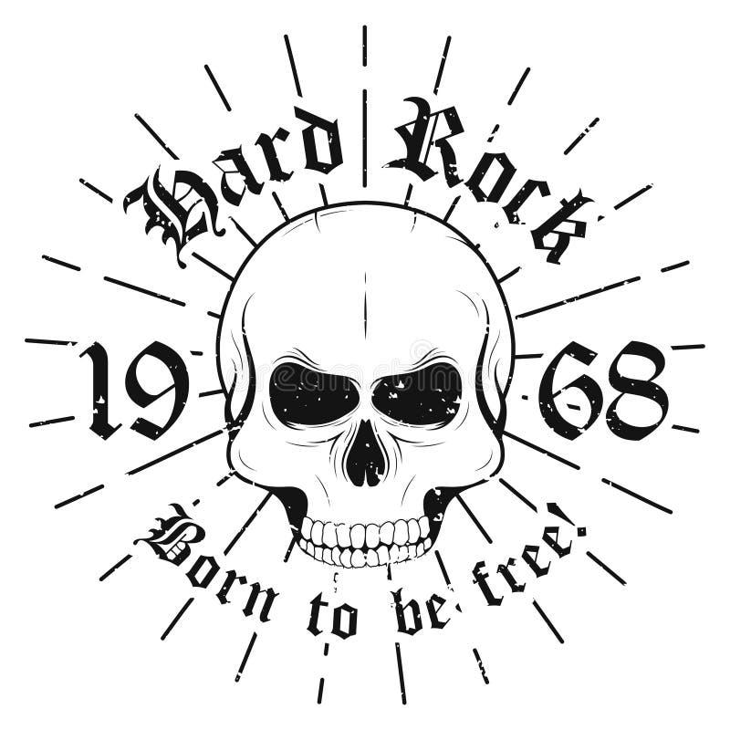 Hårt vagga den grafiska designen med skallen och slogan som uthärdas för att vara fritt för t-skjorta tryck Grafisk design för T- royaltyfri illustrationer