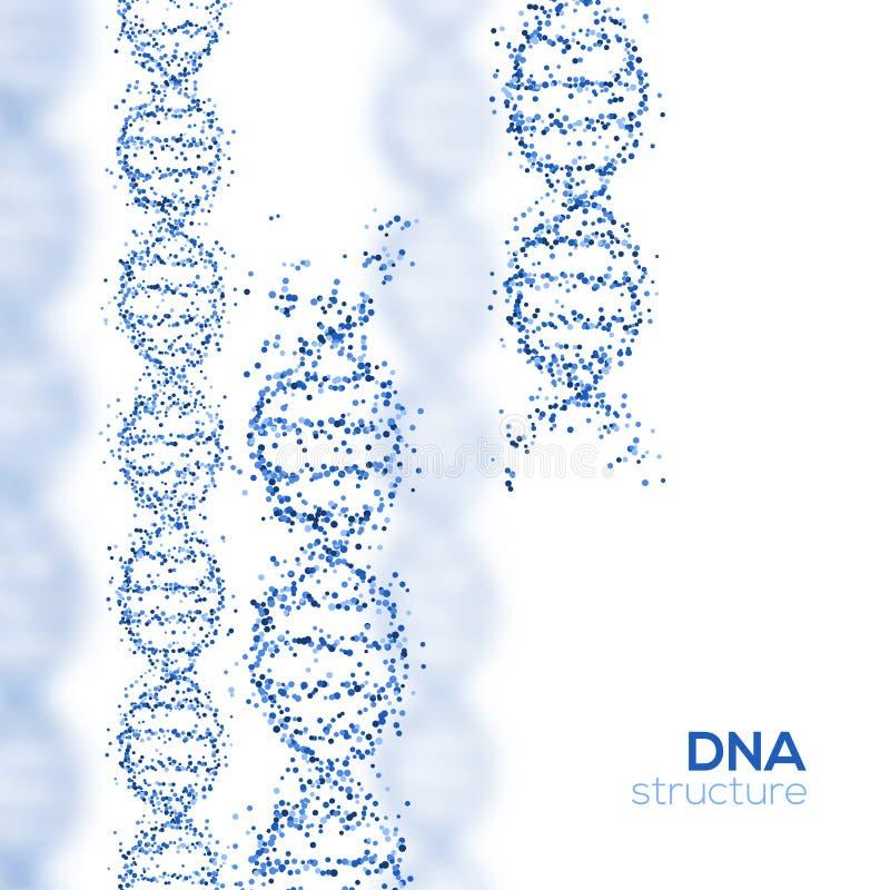 Hélice abstraite d'ADN de bleu avec de petites particules illustration stock