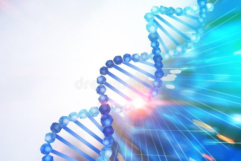 Hélice azul do ADN sobre o fundo azul branco ilustração royalty free
