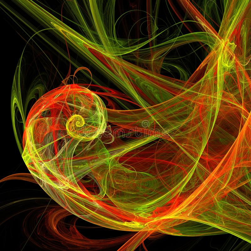 A hélice clara verde e vermelha da vertigem da mistura curva a arte digital do fractal futurista ilustração royalty free