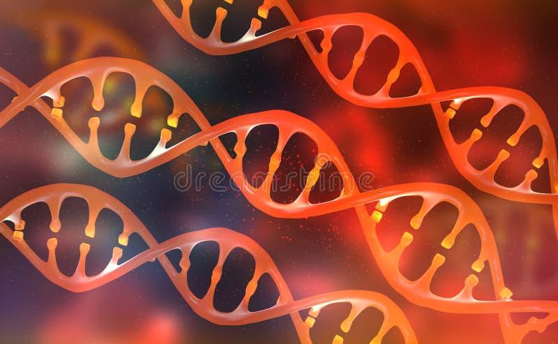 Hélice d'ADN Recherche de génome humain Modification génétique Biotechnologie d'avenir illustration libre de droits