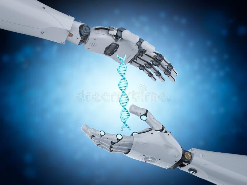 Hélice de la DNA del control del robot ilustración del vector