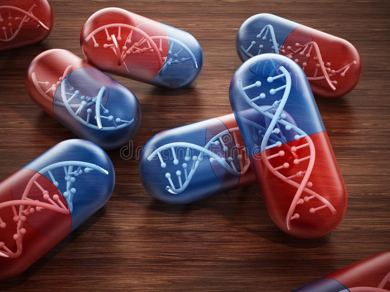 Hélice de la DNA dentro de cápsulas de la píldora stock de ilustración
