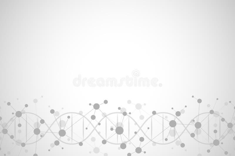 Hélice de la DNA y estructura molecular Ciencia y concepto de la tecnología con el fondo de las moléculas ilustración del vector