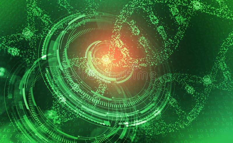 Hélice do ADN Olá! tecnologia da tecnologia no campo da genética ilustração royalty free