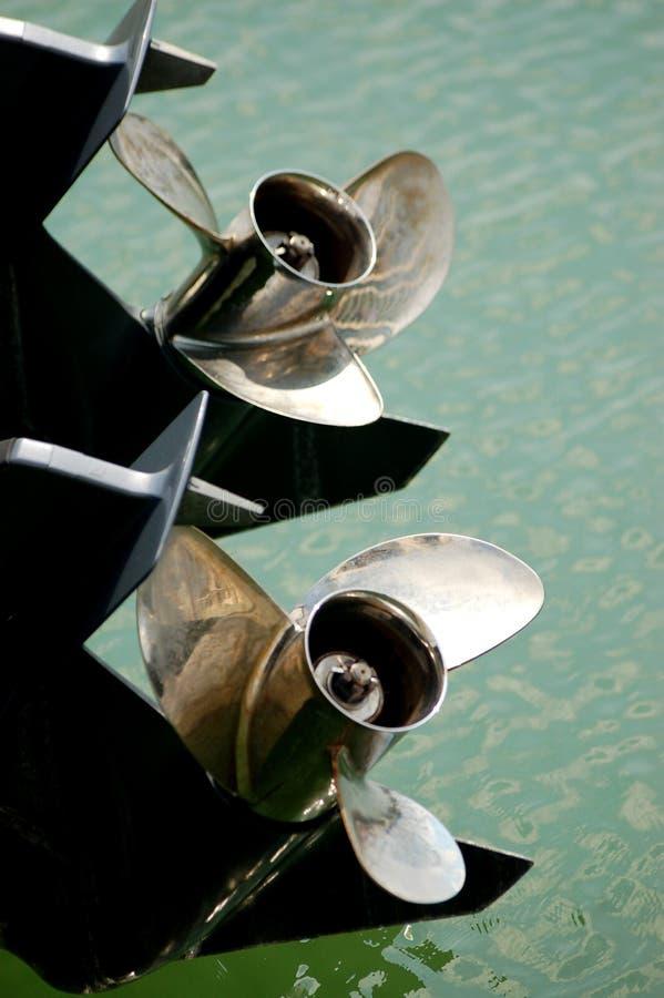Hélice do motor do iate imagens de stock