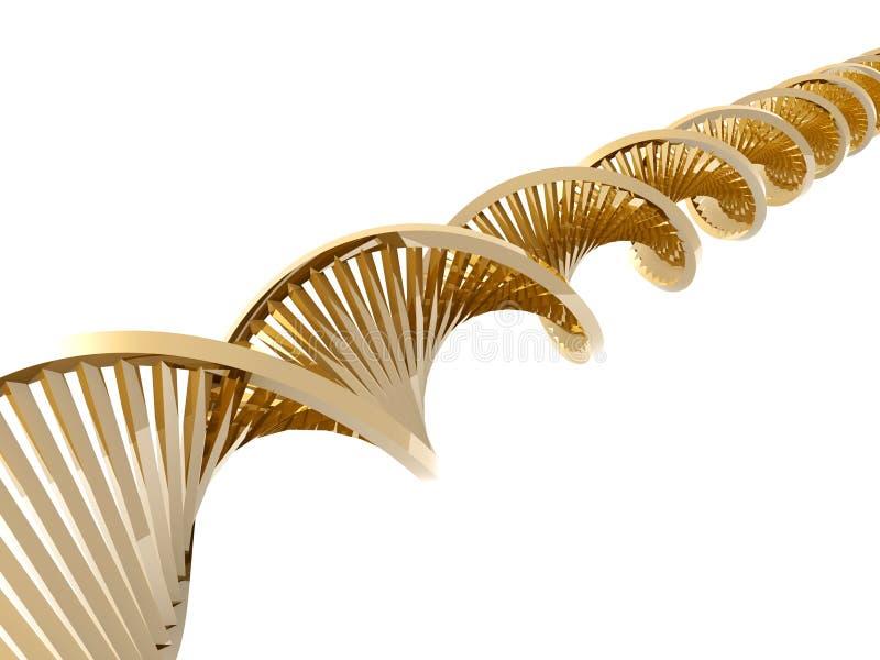 Hélice dourada do ADN ilustração stock