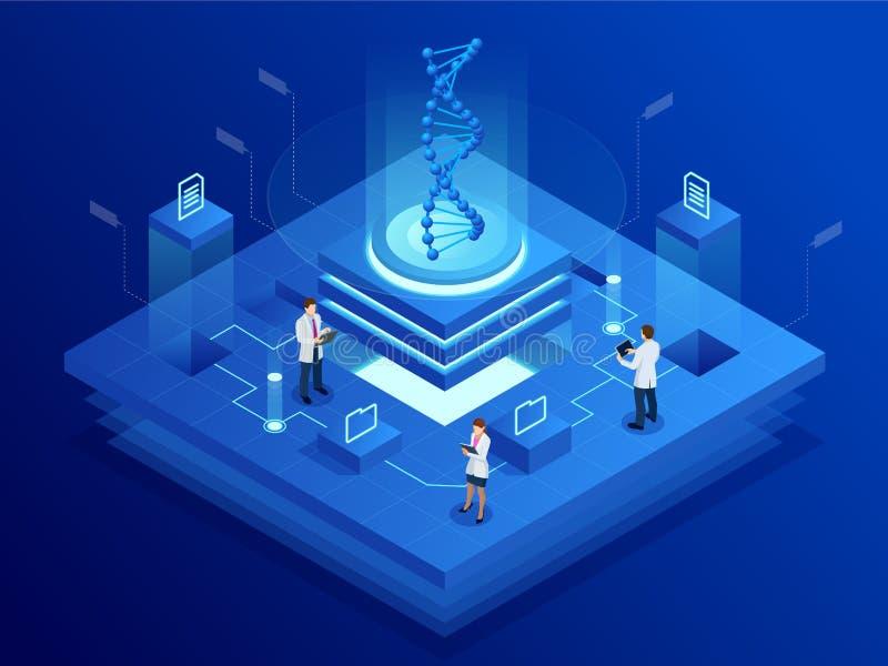 Hélice isométrica de la DNA, DNA que analiza concepto Fondo azul de Digitaces Innovación, medicina, y tecnología ilustración del vector