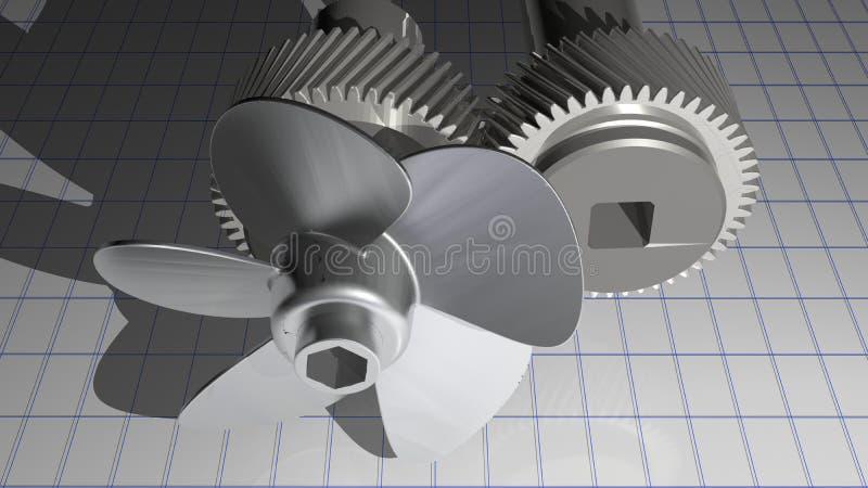 Hélice metálica com engrenagens ilustração do vetor