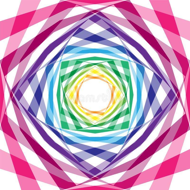 Hélice rayada del tablero de ajedrez transparente que se amplía del centro Ilusión óptica de la profundidad y del volumen Conveni libre illustration