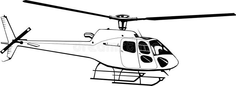 Hélicoptère civil de dessin de main, monochrome, d'isolement, monogramme, symbole, logo, icône, clipart (images graphiques), vect illustration libre de droits