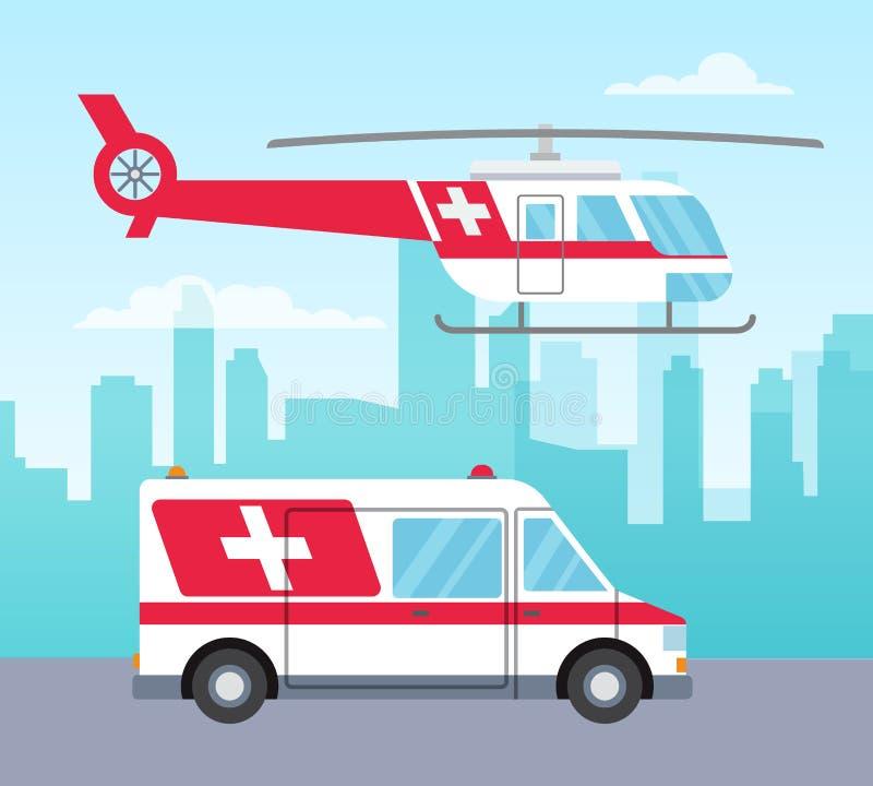 Hélicoptère d'ambulance et voiture blancs et rouges, concept de services médicaux, transport, illustration de vecteur illustration stock