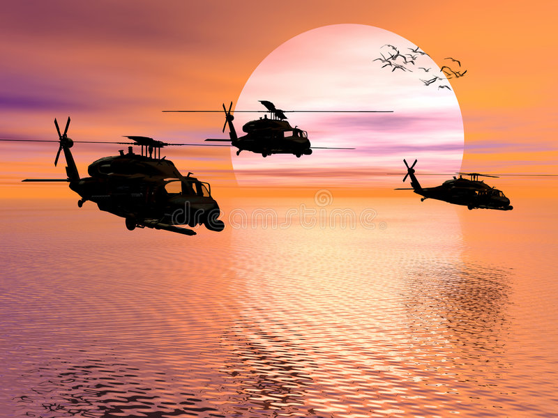 Hélicoptère d'armée, faucon noir illustration de vecteur