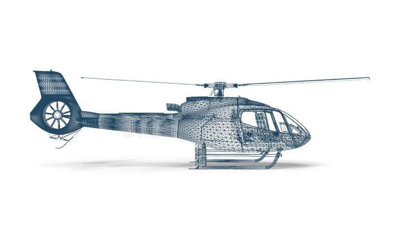 Hélicoptère de cadre de fil de vue de côté illustration de vecteur