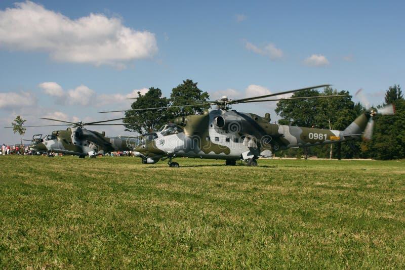 Hélicoptère de combat tchèque du mil Mi-24V de l'Armée de l'Air photographie stock libre de droits