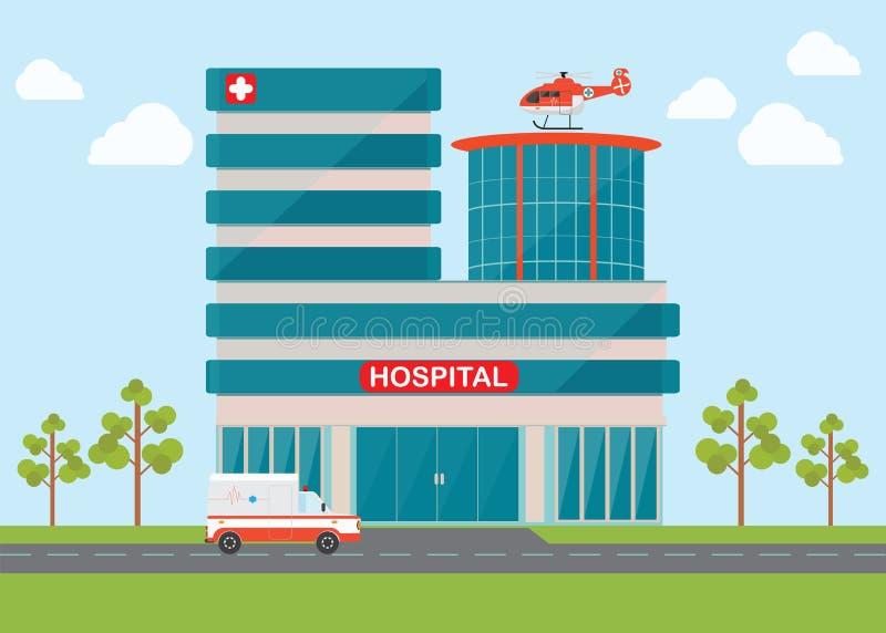 Hélicoptère et ambulance de couperet de secours médical illustration de vecteur