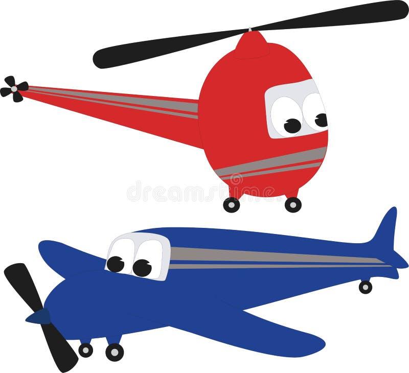 Hélicoptère et avion illustration stock
