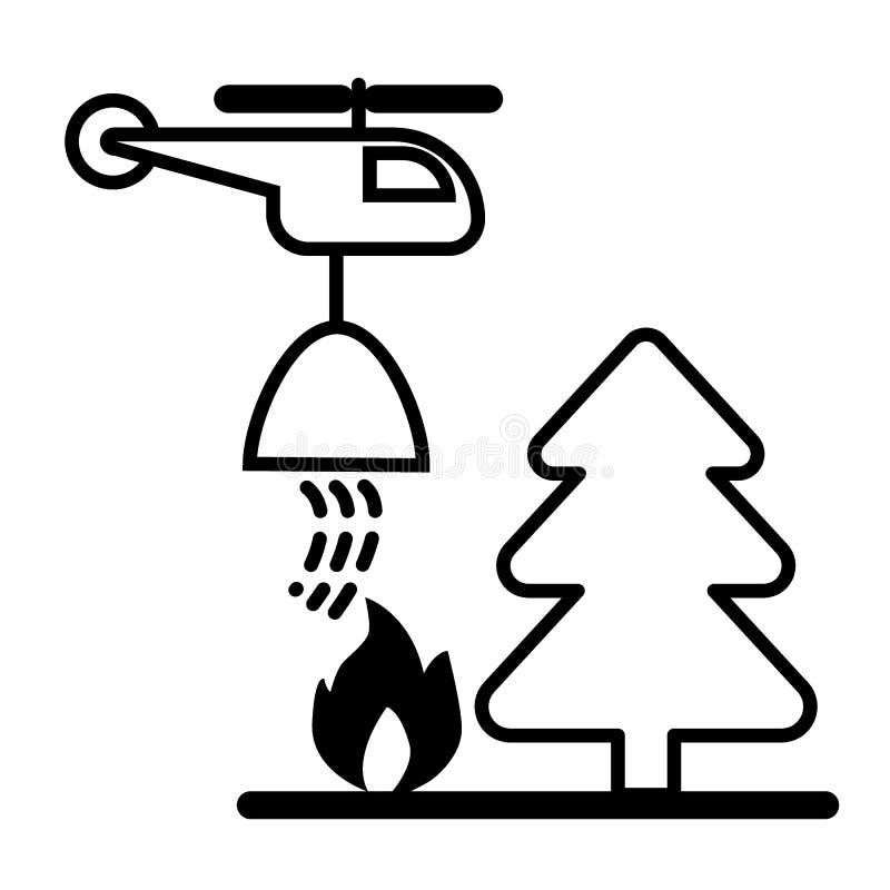 Hélicoptère, forêt, le feu dans la ligne icône de forêt Illustration de vecteur d'isolement sur le blanc conception de style d'en illustration stock